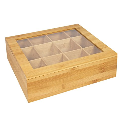 WoodLuv. Caja organizadora de bolsas de té con un almacenaje de 12 compartimentos - Hecho de bambú sostenible