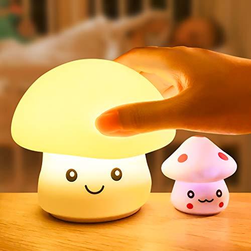 Luz de Noche Infantil,WOANWAY LED Silicona Nocturna Multicolor de USB Recargable para Diseño Infantiles Lampara Infantil de Control Táctil,para niños/adultos/Cumpleaños(Setas bebé como regalo)