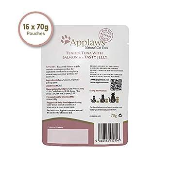 Applaws- Natural- Aliment Humide pour Chats Adultes- Thon et Saumon au Bouillon- 16pochons de 70g