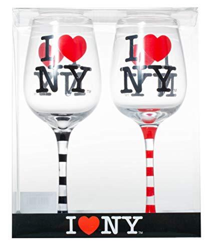 Set of 2 Officially Licensed I Love New York Striped Stem Wine Glasses