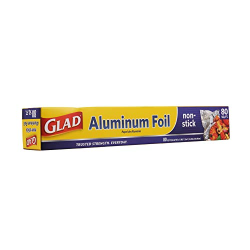 Glad Non-Stick Aluminum Foil, 80 Square Feet | Tin Foil For Grilling, Roasting, Baking | Glad Grilling and Baking Accessories