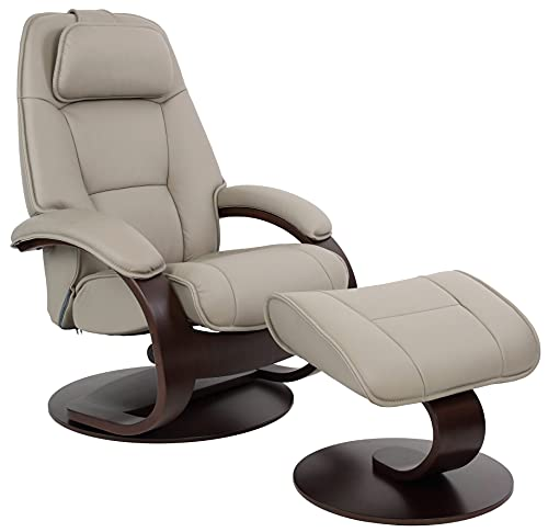 Fjords Admiral Large Ergonomic Recliner Chair with Ottoman in Cement Astro Line Premium Leather with a Walnut Wood Stain Base
