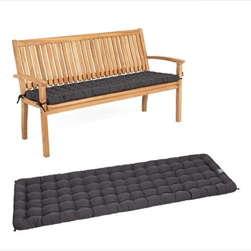 HAVE A SEAT Luxury - Sitzpolster für Gartenbank, Bequeme Gartenbankauflage, waschbar bis 95°C, Pflegeleichte Polster Auflage für Sitzbank, Made in Germany (140 x 48 cm, Grau / Anthrazit)