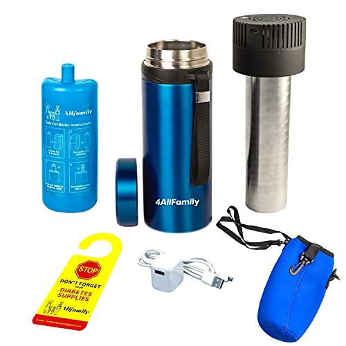 4ALLFAMILY AUTO SHUT OFF USB TSA Medication Cooler Travel Case Keeps Fridge Temp 36F-46F + Biogel Ice pack  Perfect Medical Cooler For Diabetes Insulin Eye drop Arthritis Growth hormones injectables