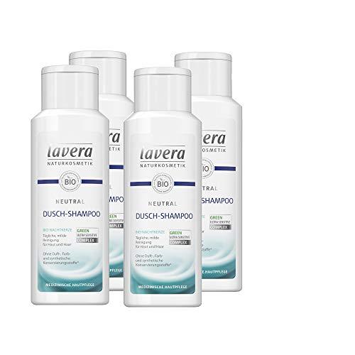 lavera Neutral Dusch-Shampoo/Duschgel mit Bio-Nachtkerze, speziell für empfindliche Haut und Neurodermitiker geeignet 4x200ml