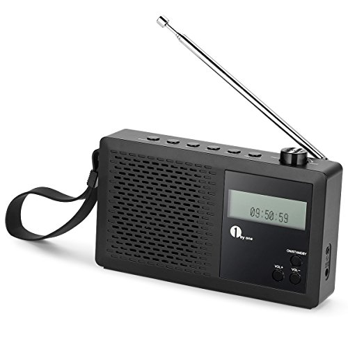 1 BY ONE Radio Digitale Portatile DAB, FM Radio con FM, Sveglia, Display LCD, Jack per Cuffie, Nera