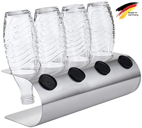 SodaNature™ | 4er Design Abtropfhalter in U-Form z.B. für SodaStream Crystal Flaschen | Flaschenhalter in 3 Farben: Edelstahl, Weiß, Anthrazit | Made in Germany