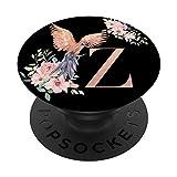 Amante de Loros Negro Acuarela con la Letra Z PopSockets PopGrip: Agarre intercambiable para Teléfonos y Tabletas