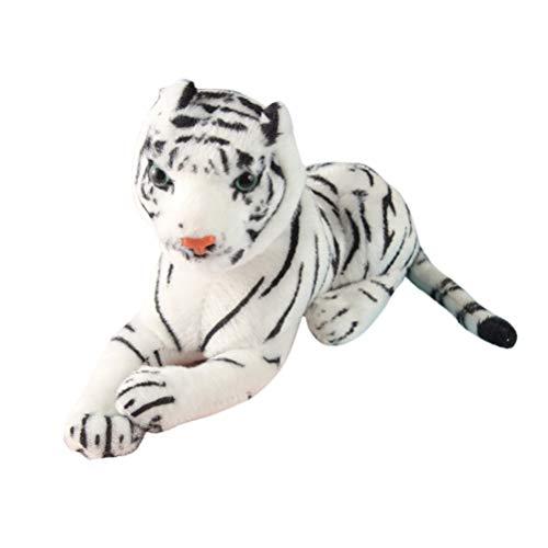 Toyvian Juguete Tigre Animal de Peluche (Blanco)