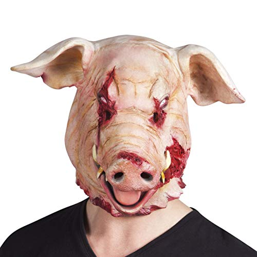 Boland 97519 - Latex Kopfmaske Blutiges Schwein, Rosa/Rot, Gruselmaske, Kostüm-Karneval, Halloween