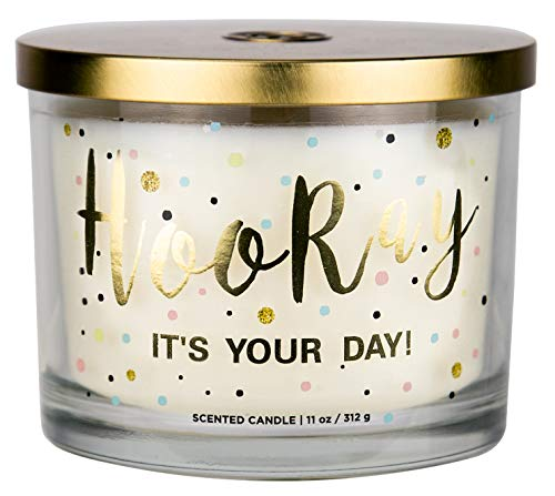 """Aromascape PT41416 """"Hooray it's Your Day"""" 3-Wick Scented Candle (Vanilla Frosting and Almond Milk), 11-Ounce"""