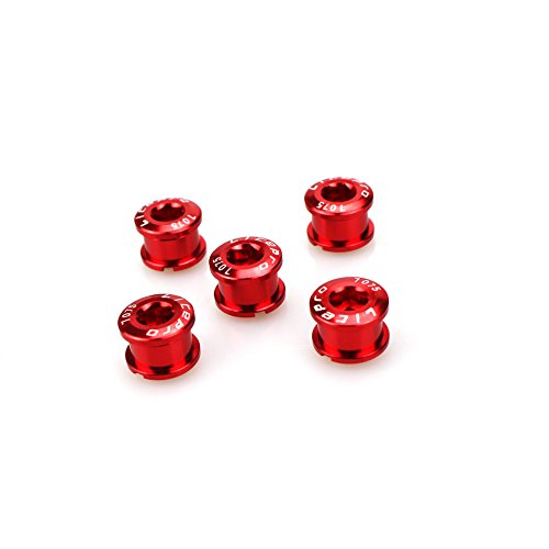 CYSKY Einzelne Kettenblattschrauben 5er-Pack M8 Single Short Chain Ring Bolts Fit für Rennrad, Mountainbike, BMX, MTB, Fixie(Rot)