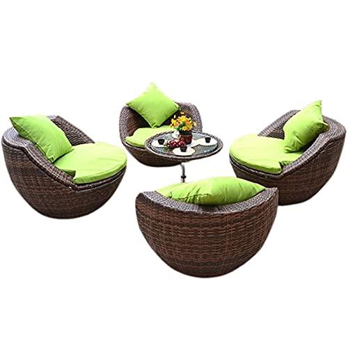 MEILILI Juego de Mesa y Silla de balcón de Ocio de ratán nórdico, Juego de Cinco Piezas, combinación Creativa de sillas de ratán de jardín al Aire Libre en Forma de Huevo