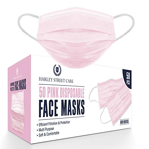 Harley Street Care Disposable Pink Face Masks Protective 3 Ply Breathable...