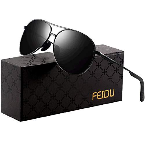 Sonnenbrille Herren Polarisierte Sonnenbrille Damen - Metallrahmen Polarisiert sonnenBrille Herren Fahren Unisex UV400 FD9002 (1-schwarz/schwarz, 2.28)
