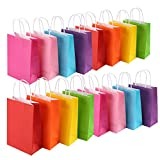 MUKOSEL 32 Piece Kraft Paper Party Favor Bags, 8 Colors Gift Bags Bulk with Handles for Wedding, Baby Shower, Birthday, Gifts, Shopping and Party Supplies (Medium 8.2 x 4.3 x 10.6 Inch)