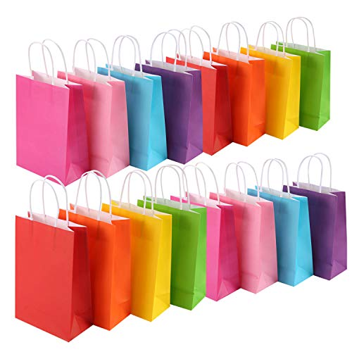MUKOSEL 32 Pack Kraft Paper Party Favor Bags, 8 Colors Gift Bags Bulk with Handles Perfect for Wedding, Baby Shower, Birthday, Gifts, Shopping and Party Supplies (Rainbow, Medium)