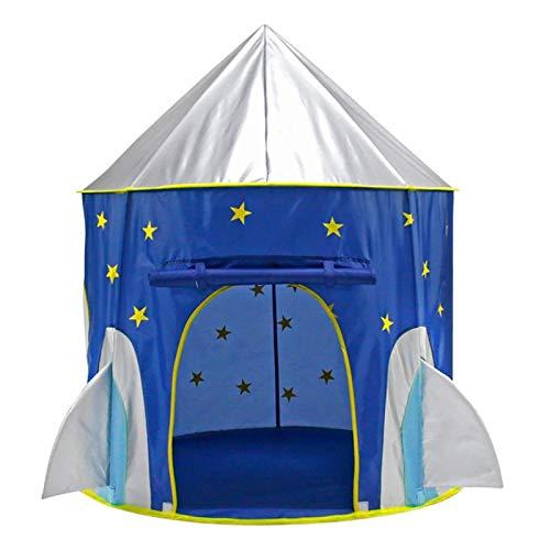 Los Niños Juegan Carpa Tienda de niños Tienda de la tienda de campaña Espacio Yurt Tent Game House Rocket Ship Play Tienda de campaña para Interior y Exterior ( Color : Azul , Size : 105×135 cm )