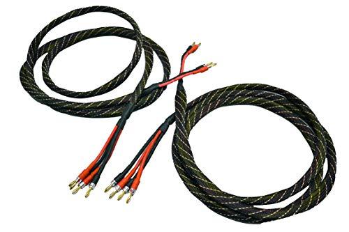 Coppia cavi per casse acustiche Hi-Fi BI-WIRING, twistati, rame OFC puro con connettori a scelta: Banana BFA, Banana, Banana a Pipa, Forcella o Puntale (2 mt, FORCELLA)