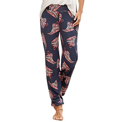 YANFANG Pantalones De Camuflaje con Estampado Leopardo, Cintura Alta, Casual Cordones, Damas,Pantalones CháNdal Leopardo para Mujer EláSticos Casuales EláStica,Azul Oscuro,XL