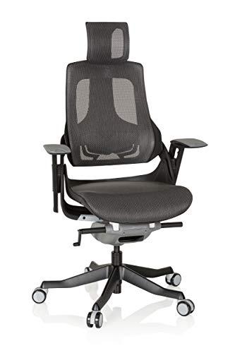 hjh OFFICE 640350 Profi Bürostuhl SPEKTRE Netz Schwarz/Grau ergonomischer Drehstuhl mit Verstellbarer Rückenlehne