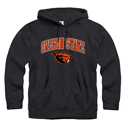 Campus Colors NCAA Adult Arch & Logo Gameday Hooded Sweatshirt (Oregon State Beavers - Black, Medium)