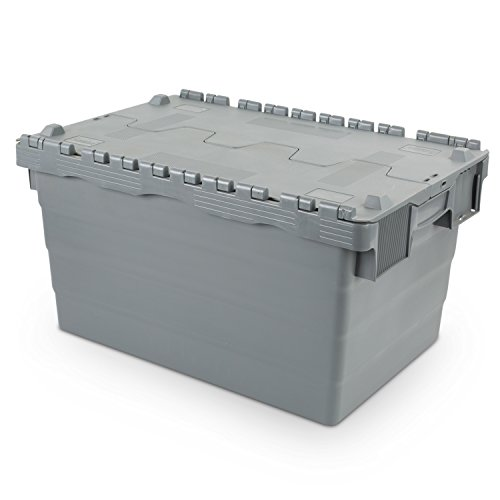 Contenedor de almacenamiento reutilizable 600 x 400 x 320 con tapa con bisagras, 60 litros
