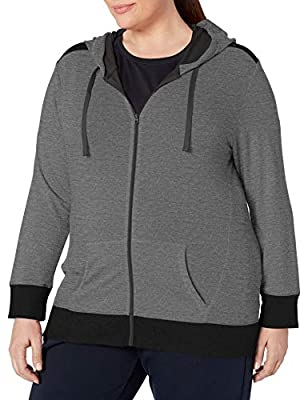 JUST MY SIZE Women's Plus Size Active French Terry Full-Zip Hoodie, Granite Heather/Black, 5X