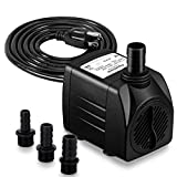550GPH Submersible Water Pump (2000L/hr, 30W) - Ultra Quiet Pond Pump - Outdoor Fountain Pump with 7.2ft Vertical Lift - Aquarium Pump with 3 Nozzles, 6.56ft Power Cord - Compact Fish Tank Pump