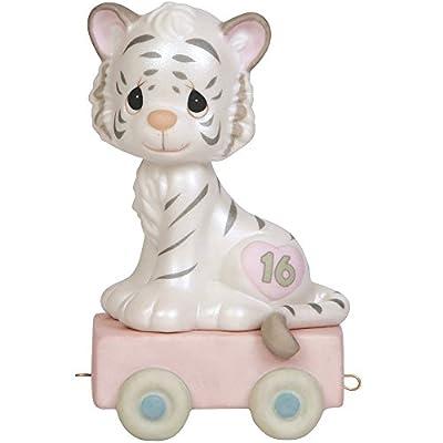 Precious Moments, 16 And Feline Fine, Birthday Train Age 16, Bisque Porcelain Figurine, 142036