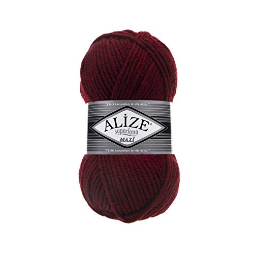 Alize 5 x 100 Gramm Superlana Maxi Wolle, 500 Gramm Strickwolle 75% Acryl 25% Wolle (Bordeaux 57)
