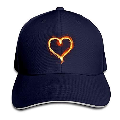 Gorra de béisbol Heart Fire Hombres Mujeres: Sombrero Liso Deportivo Ajustable sólido para jóvenes Dad Ball
