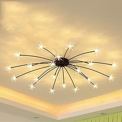 HOMECR LED Decke Licht Eisblume Glaswand Lichtdecke Schlafzimmer Küche Kinderzimmer Decke Lampe Gypsophila Kronleuchter Leuchten Black (warm Light)- 21 Lights