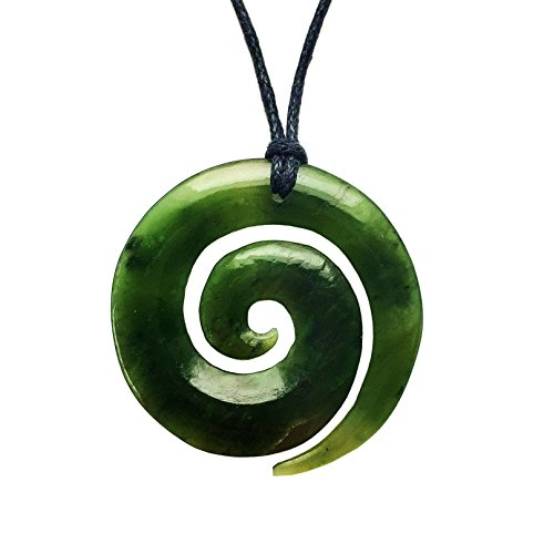 jade/Greenstone Koru Cadena con Colgante De Nueva Zelanda