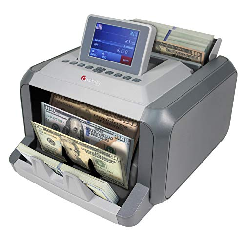 Cassida 7750R Mixed Denomination Money Counter Machine and Value Bill Reader with Counterfeit Detector UV, MG, Infrared, Size & Image Recognition