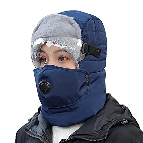 Chapéu Ushanka 3 em 1, Baugger Ushanka Winter Hat 3 em 1 Chapéu Bombardeiro à Prova de Vento Chapéu de Pêlo Térmico à Prova de Vento Chapéu Hunter com Óculos de Proteção no Rosto para e