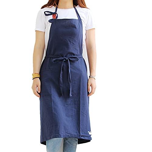 UKKD Delantal Temperamento Florista Jardinería Algodón Lino Cafeteria Cocina Delantales Para Cocinar Restaurante Para Hornear Extra Grande Delantal