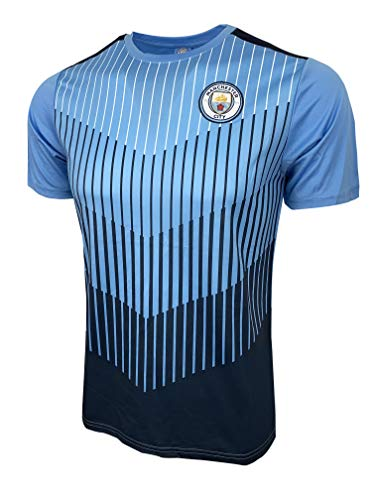 Icon Sports Manchester City Training Jersey, Lisenced M. City Shirt, XX-Small (Youth Large 10-12 Years) Blue