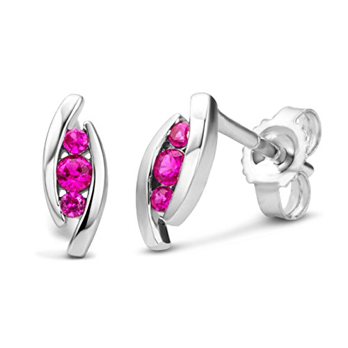 Miore Ladies 9kt White Gold Ruby Drop Earrings