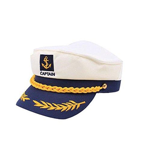 EBTOYS Sailor Ship Yacht Boat Captain Hat Navy Marines Admiral Cap Hat - White & Blue