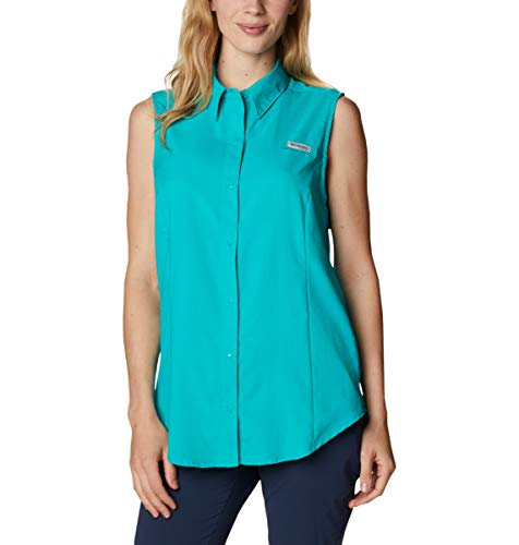 Columbia Women's Tamiami Sleeveless Shirt, Tropic Water, Large