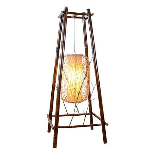 Chinesische Feuerhaufen Modellierung handgewebte Weaving Bambus Kunst Stehleuchte, retro Quad-Fuß Esszimmer Wohnzimmer Stehleuchte (braun schwarz)