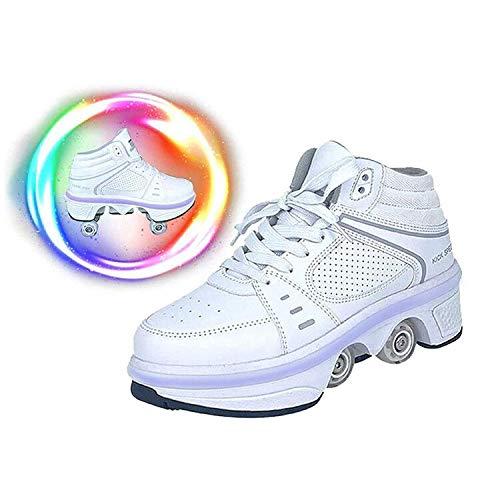 LDTXH Schuhe mit Rollen 2 in 1 Multifunktionale 4 Rad Schuhe mit Rollschuhe Verformung Schuhe 7-Farbwechsel Lichtleiste Verstellbare USB wiederaufladbar für Männer Frauen Und Kinder,38