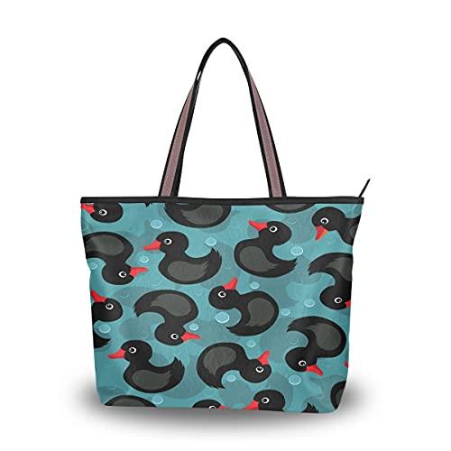 HMZXZ Lindos patos animales bolsos y monedero para las mujeres bolso de mano de gran capacidad asa superior bolsa de hombro Shopper, color Multicolor, talla Large