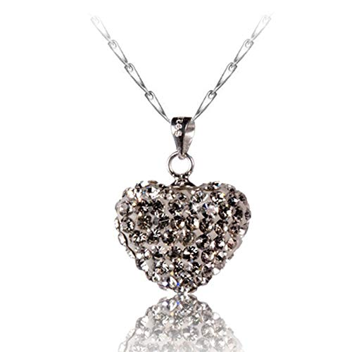 collar Collar Con Colgante De Cristal De Corazón De Cadena De Plata De Ley 925 Para Mujer