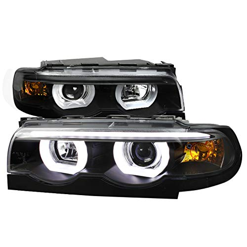 Velocity Concepts For E38 7-Series 740i 740i Black Clear Dual Halo LED DRL Projector Headlights