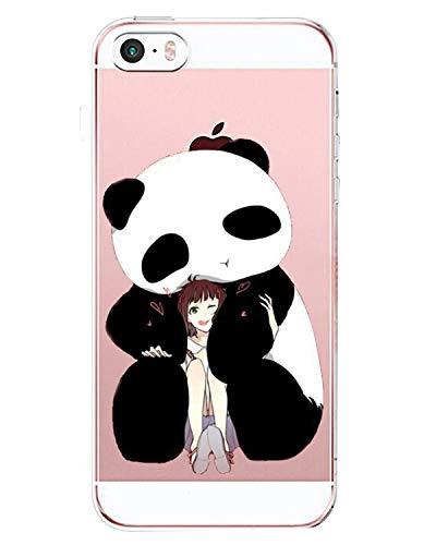 AIsoar Coque Compatible pour iPhone Se,iPhone 5,iPhone 5s Coque de Protection Transparente Silicone Antichoc TPU Ultra Mince arrière Résistant Aux Rayures Housse Panda Couverture (Fille et Panda)