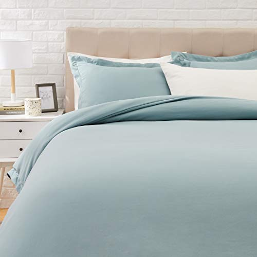 AmazonBasics Light-Weight Microfiber Duvet Cover Set with Snap Buttons - King, Spa Blue