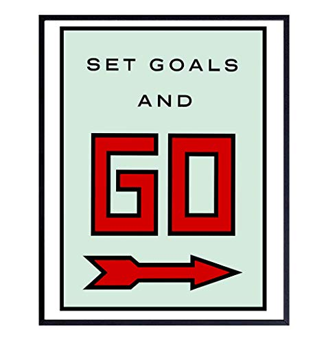 Motivational Set Goals Monopoly Entrepreneurial Office Decor - 8x10 Poster Print - Contemporary Modern Art Wall Decoration Picture for Home, Apartment, Dorm, Gym - Inspirational Gift for Entrepreneur