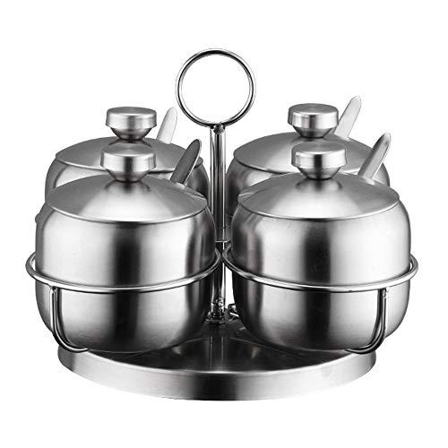 ZLDGYG Rotierender Vier-Topf-Gewürzbehälter aus Edelstahl, Salz- und Pfefferflasche für den Hausgebrauch